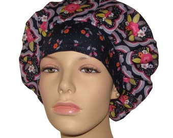 Scrub Hats - Paradise Damask Dark Purple
