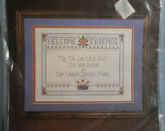 Vintage Bernat Counted Cross Stitch Kit Sampler Cherished Friends Welcome 1987