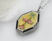 Vintage Locket | Sterling Silver & Yellow Guilloche Locket Necklace | Pink Roses | 1930s Sterling and Enamel Locket - 20 Inch Chain Included