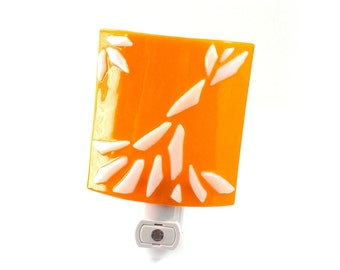 Night Light Plug In, Modern Orange and White Stained Glass, Home Accent