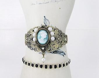 Cameo Bracelet, Victorian Lady Cameo, Cuff Bracelet, Pearl Bracelet, Blue Cameo, Cuff Bracelet, Cameo Jewelry, Victorian Cameo, B-226