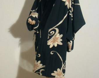 1940's Japanese Kimono , Short Hand Painted Kimono - Brilliant Dark Green with Scrolling Flowers and Black Velvet Neck Band