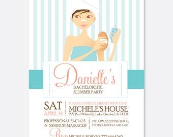 Spa Invitation, Slumber Party Invitation, Bachelorette Party Invitation, Bridesmaid Invitation, Custom Invitation