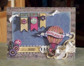 Bonjour Hot Air Balloon - Enjoy the Ride - Handmade All Occasion Card