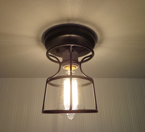 Industrial Cage CEILING LIGHT with Edison Bulb by LampGoods