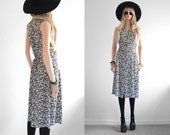 90s Floral Dress 90s Grunge Long Rayon Floral Midi Dress Rayon Dress 90s Dress Long Floral Dress Vintage 90s Clothing Black Floral Dress S