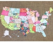 Map of the United States, Fabric Scrap Map, Scrap map, basic grey, fresh cuts