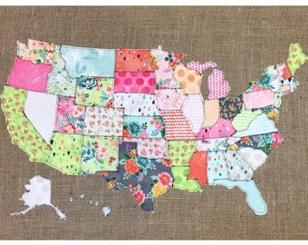 Map of the United States, Fabric Scrap Map, Scrap map, basic grey, fresh cuts