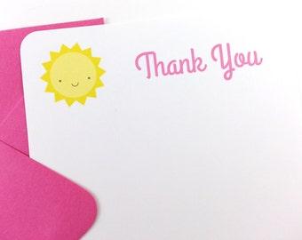 Sunshine Thank You Notes, Sunshine Stationery - SET OF 12