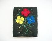 Needle Book Black Felt Needle Keeper with Hand Embroidered Felt Flowers and Swirls Hand Sewn