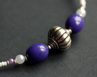 Badge Holder or Eyeglass Necklace. Purple Lanyard. Eyeglass Holder. Beaded Lanyard. Purple Eyeglass Chain. Badge Lanyard. Handmade Lanyard.