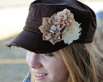 Brown Womens Hat Shabby Chic Flower Hat distressed hat Bling cap Cadet Cap Brown Ivory tan flower baseball cap military