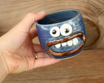 Cute Little Teacup. Blue Stoneware Pottery Small 10 Ounce Mug. Funny Face Cup. Cheerful Teacups. Trinket Bowl
