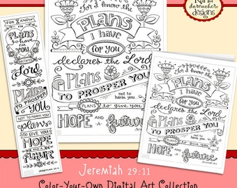Jeremiah 29:11 Bible Journaling Coloring Collection Bookmarks Cards and Print INSTANT DOWNLOAD Scripture Christian Religious Bible Verse