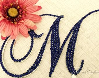 Crystal Monogram Wedding Cake Topper made with Swarovski Crystals Any Letter Navy Blue