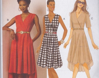 Butterick Pattern B6204 Dress with Mock Wrap Bodice, Shaped Hemline, Side Pockets in Two Lengths Misses' Sizes 6 - 14