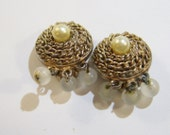 gold tone round clip on earrings with frosted bead dangles 0515B