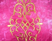 """GB274 Gold Embroidered Applique Iron On Patch 10.75""""  (GB274-gl)"""