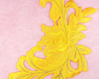 """GB159 Floral Rose Yellow Gold Metallic Embroidered Flower Applique Iron On Patch 9""""  (GB159-ylgl)"""