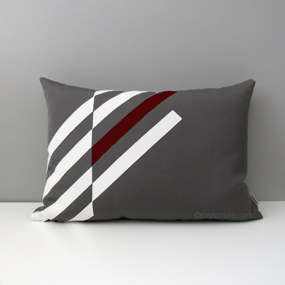 Burgundy & Grey OUTDOOR Pillow Cover Modern Geometric by Mazizmuse