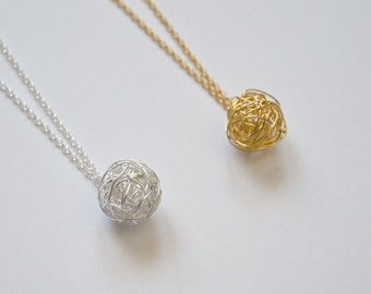 Tangled ball necklace - gold vermeil or sterling silver wire wrapped yarn ball pendant - long layering necklace - modern jewelry - Helen