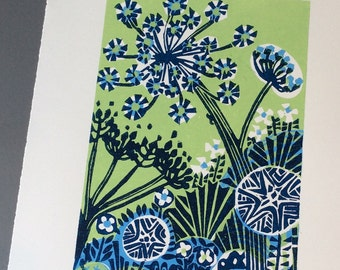 Parsnip Flowers no3 linocut print