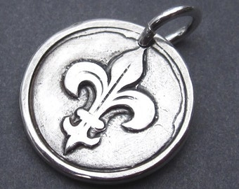 Fleur de Lis Fine Silver Charm PMC Focal Pendant with Sterling Silver Jump Ring