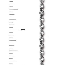 TierraCast Flat Cable Chain - 4 x 2.5 mm links - sold by the foot - brass chain with an antiqued silver finish - jewelry craft hobby chain