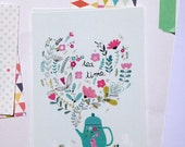 "2 Cards "" Tea time "" + 2 white envelopes, Tea print illustration"