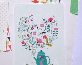 "2 Cards "" Tea time "" + 2 white envelopes, Tea print illustration"