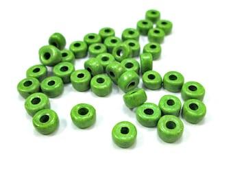 Green greek ceramic beads, green tube beads (50)