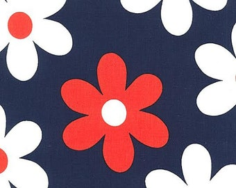 Lil Plain Jane MM Fabric Large Red and White Daisies Daisy Flowers on Twlight Navy Blue