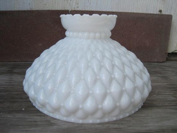 Vintage Fenton White Milk Glass Quilted Diamond Lamp Shade