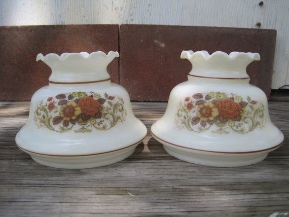 Pair Of Vintage Quoizel Rust Rose Hurricane Lamp Shades