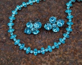 Vintage Turquoise Glass Rhinestone Necklace & Matching Earrings . Beautiful Set