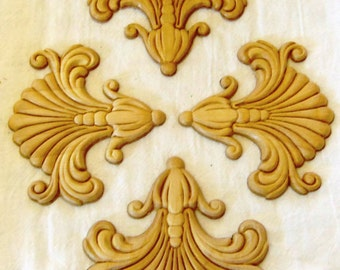 4 Wood Appliques Onlays Set of 4 Birch Embossed Furniture Trim Commercial Supplies Shell Splash