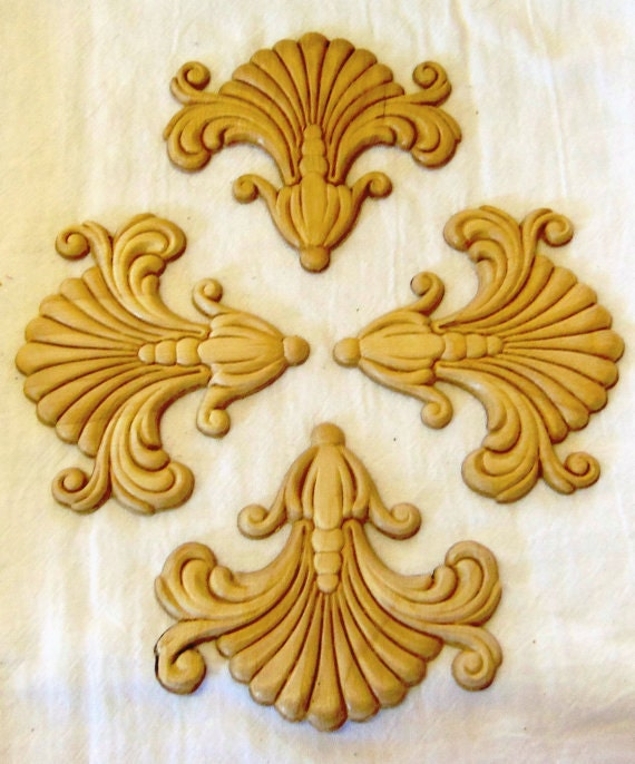 4 Wood Appliques lays Set of 4 Birch Embossed Furniture Trim