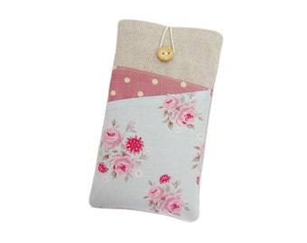 Floral Phone Case, Galaxy S6 Edge, Samsung A3 2016, Nexus 6P, Pink Mobile Pouch, Gift for Her, Galaxy Phone Case, LG G5, HTC One M9, Moto X