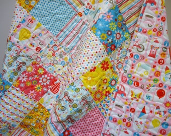 Baby Girl Quilt-Modern-Pink-Aqua-Hot Air Balloon-Bicycle-Scotter-Roller Skate-Kite-Traditional Patchwork Crib Bedding-Flannel-Girl Crazy