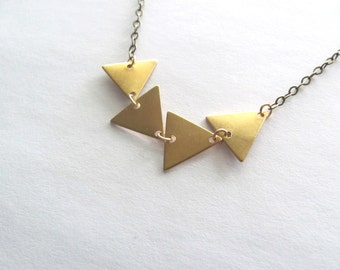 Petite triangle pendant necklace, brass bunting necklace, antique brass chain and brass vintage triangle pendants,  geometric jewelry