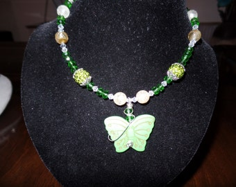Green Butterfly Childrens Necklace with Custon Wirewrapped Pendant Birthday Necklace Created By Yoyos Creative Jewelry Designs