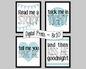 Read Me a Story, Tuck Me in Tight... set of 4 prints, blue - 8x10, INSTANT DOWNLOAD