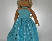18 inch doll clothes Turquoise Full-Length Party Dress and choker 05-0228