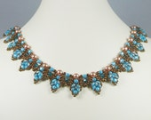 Woven Twin Bead Necklace Turquoise and Bronze
