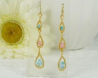 Dangle Earrings Woven Swarovski Crystals