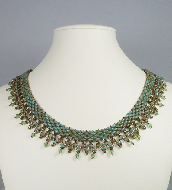 woven bead necklace green and turquoise