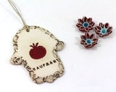 Personalized Ceramic Hamsa decoration  Hamsa wall hanging Hamsa Hamsa wall art  Red Pomegranate