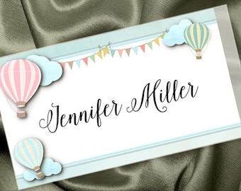 Personalized Sticker Labels, Name Badge, Food or Candy Buffet Labels, Pastel Hot Air Balloons, Bridal or Baby Shower, Wedding, Birthday