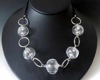 Transparent Hollow Glass Bead and Sterling Silver Link Necklace