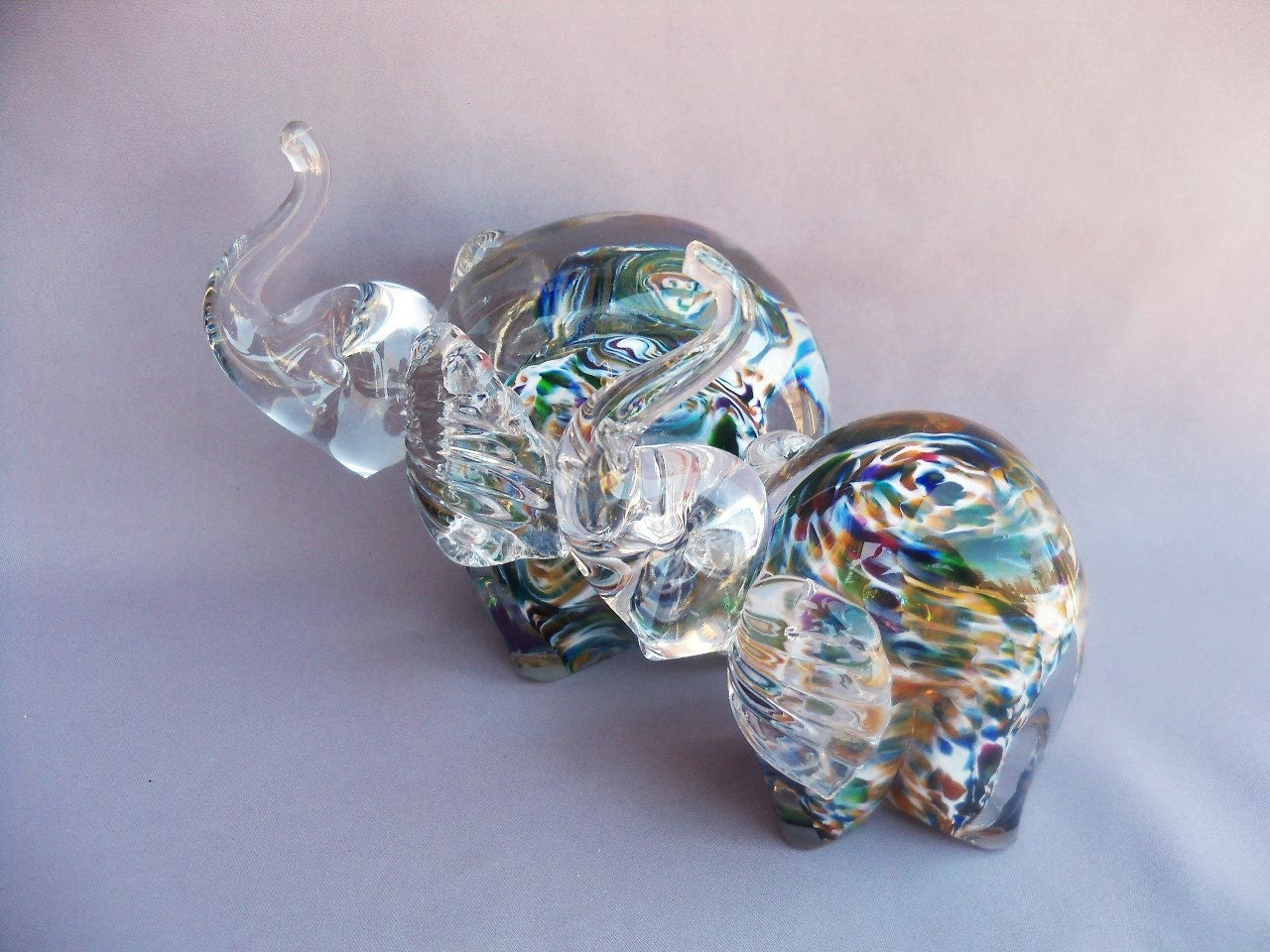 Hand Blown Art Glass Elephant Figurine Mother And Baby